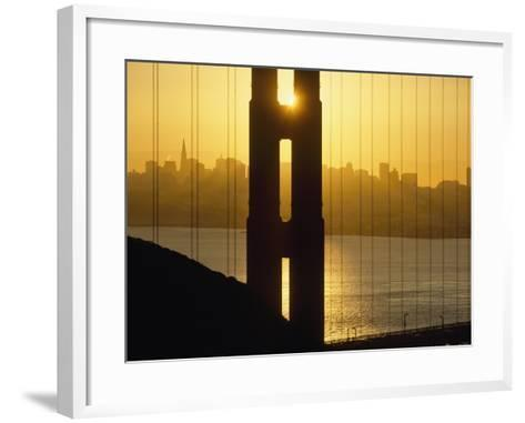 Sunrise Behind the Golden Gate Bridge with Skyline Behind-Design Pics Inc-Framed Art Print