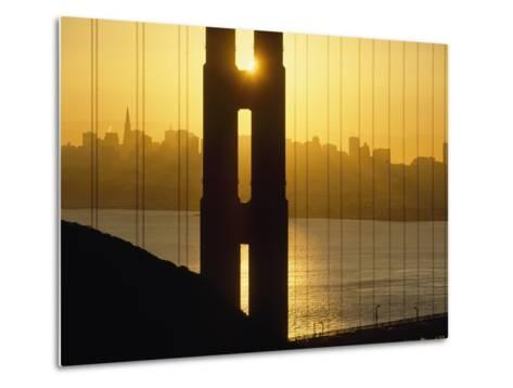 Sunrise Behind the Golden Gate Bridge with Skyline Behind-Design Pics Inc-Metal Print