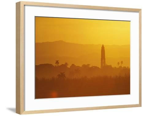 Tower Silhouetted Amongst Orange Mountains-Design Pics Inc-Framed Art Print