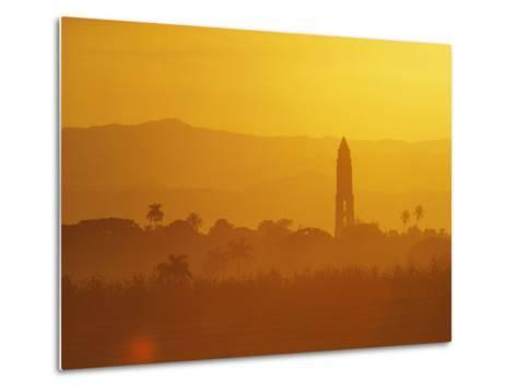 Tower Silhouetted Amongst Orange Mountains-Design Pics Inc-Metal Print