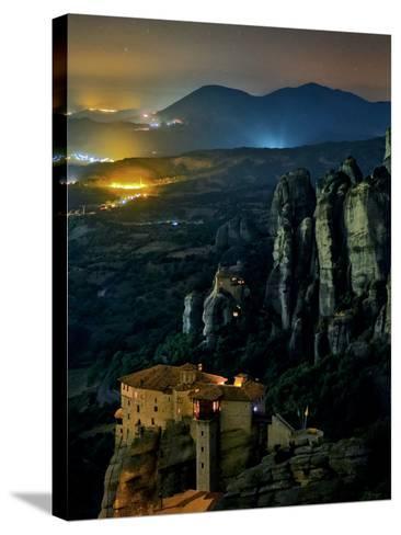 The Monastery of Rousanou Built into Sandstone Pillars of Meteora-Babak Tafreshi-Stretched Canvas Print