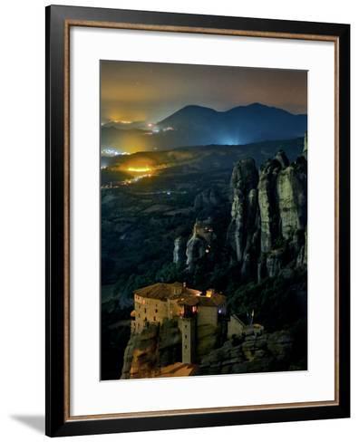The Monastery of Rousanou Built into Sandstone Pillars of Meteora-Babak Tafreshi-Framed Art Print