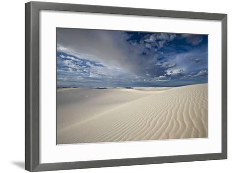 Summer Monsoon Clouds over White Dunes in White Sands National Monument-Derek Von Briesen-Framed Art Print