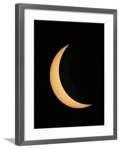 Partial Phase of a Solar Eclipse Photographed Through a Telescope-Babak Tafreshi-Framed Art Print