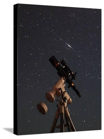 Two Iridium Satellites Flare in the Night Sky over a Telescope-Babak Tafreshi-Stretched Canvas Print