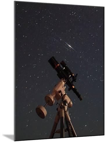 Two Iridium Satellites Flare in the Night Sky over a Telescope-Babak Tafreshi-Mounted Photographic Print