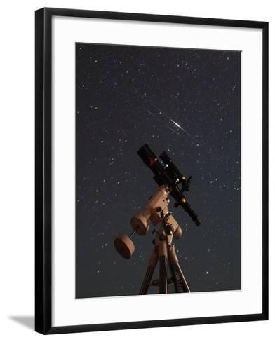 Two Iridium Satellites Flare in the Night Sky over a Telescope-Babak Tafreshi-Framed Art Print