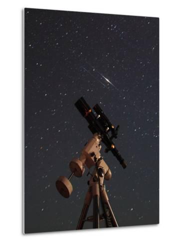 Two Iridium Satellites Flare in the Night Sky over a Telescope-Babak Tafreshi-Metal Print