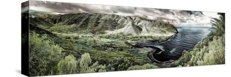 Panoramic Infrared Image of Halawa Valley and Bay at the East End of Molokai Island-Richard Cooke-Stretched Canvas Print
