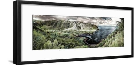 Panoramic Infrared Image of Halawa Valley and Bay at the East End of Molokai Island-Richard Cooke-Framed Art Print