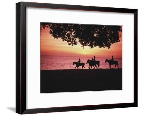 Riding Horses on the Beach at Sunset-Design Pics Inc-Framed Art Print