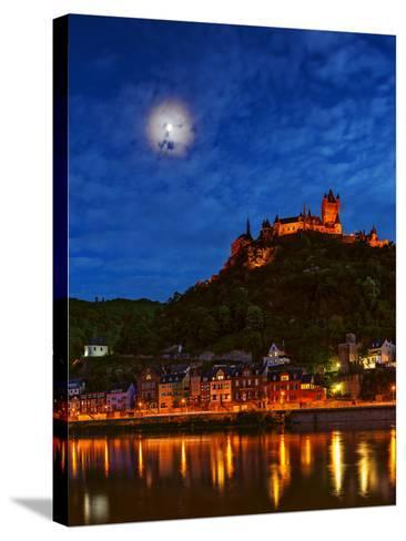 An Atmospheric Corona Circles the Moon Above the Imperial Castle of Cochem-Babak Tafreshi-Stretched Canvas Print