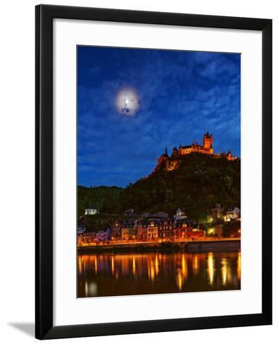 An Atmospheric Corona Circles the Moon Above the Imperial Castle of Cochem-Babak Tafreshi-Framed Art Print
