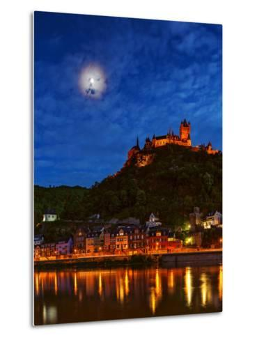 An Atmospheric Corona Circles the Moon Above the Imperial Castle of Cochem-Babak Tafreshi-Metal Print