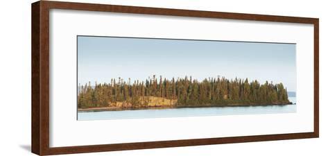Trees Covering an Island on Lake Superior at Sunset; Thunder Bay, Ontario, Canada-Design Pics Inc-Framed Art Print