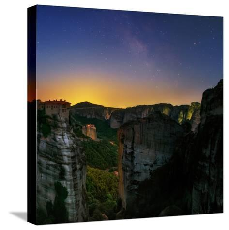 The Night Sky Above the Monasteries at the World Heritage Site of Meteora-Babak Tafreshi-Stretched Canvas Print
