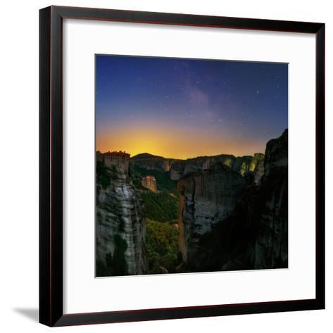 The Night Sky Above the Monasteries at the World Heritage Site of Meteora-Babak Tafreshi-Framed Art Print