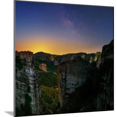 The Night Sky Above the Monasteries at the World Heritage Site of Meteora-Babak Tafreshi-Mounted Photographic Print