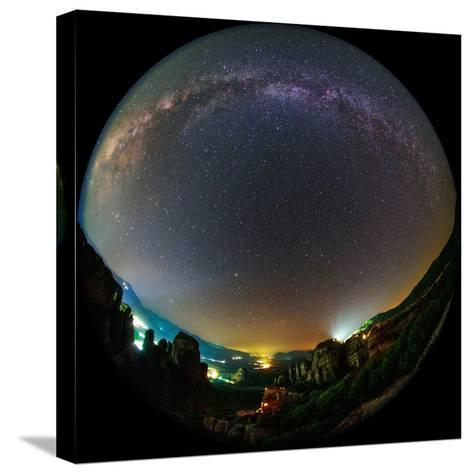 The Night Sky Above the World Heritage Site of Meteora-Babak Tafreshi-Stretched Canvas Print