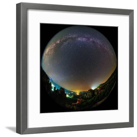 The Night Sky Above the World Heritage Site of Meteora-Babak Tafreshi-Framed Art Print