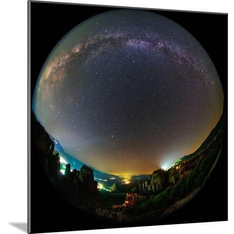 The Night Sky Above the World Heritage Site of Meteora-Babak Tafreshi-Mounted Photographic Print
