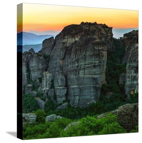 Sunsets over the Sandstone Pillars of Meteora-Babak Tafreshi-Stretched Canvas Print