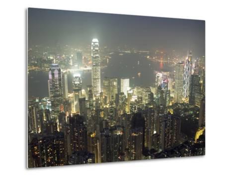 City Illuminated at Night, Hong Kong-Design Pics Inc-Metal Print