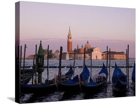Gondolas on Canal, Church of St. Giorgio Maggiore in Background; Grand Canal, Venice, Italy-Design Pics Inc-Stretched Canvas Print