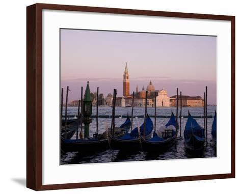 Gondolas on Canal, Church of St. Giorgio Maggiore in Background; Grand Canal, Venice, Italy-Design Pics Inc-Framed Art Print