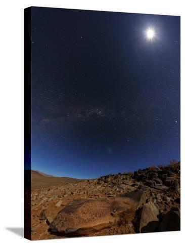 The Milky Way and the Moon Shine Above Desert Mountains-Babak Tafreshi-Stretched Canvas Print