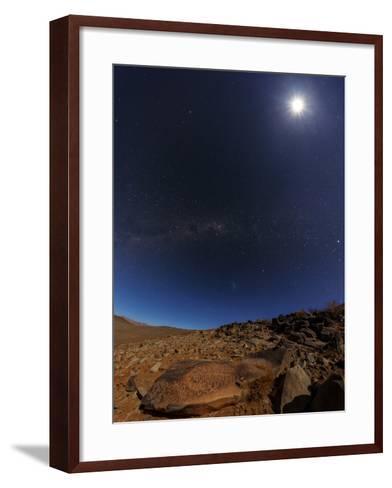 The Milky Way and the Moon Shine Above Desert Mountains-Babak Tafreshi-Framed Art Print