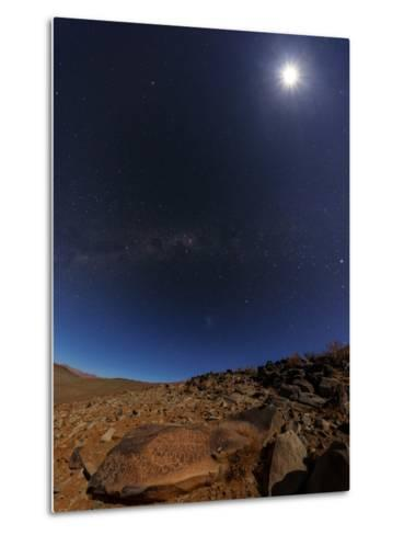 The Milky Way and the Moon Shine Above Desert Mountains-Babak Tafreshi-Metal Print