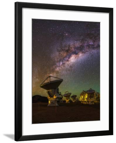 The Milky Way Appears over the Alma Radio Telescopes-Babak Tafreshi-Framed Art Print