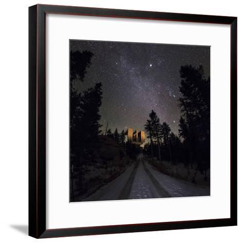 Winter Stars, Including Jupiter, and the Milky Way over the Large Binocular Telescope-Babak Tafreshi-Framed Art Print