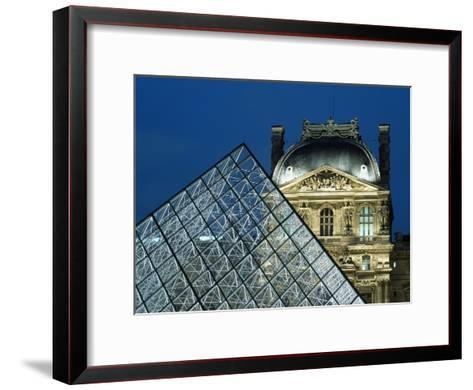 Detail of the Glass Pyramid Outside the Louvre Museum at Dusk-Design Pics Inc-Framed Art Print