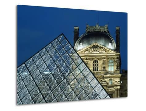 Detail of the Glass Pyramid Outside the Louvre Museum at Dusk-Design Pics Inc-Metal Print