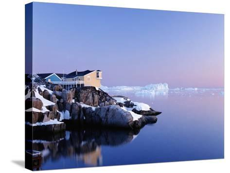 Houses on the Coastline with Icebergs, Disko Bay-Design Pics Inc-Stretched Canvas Print