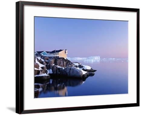 Houses on the Coastline with Icebergs, Disko Bay-Design Pics Inc-Framed Art Print