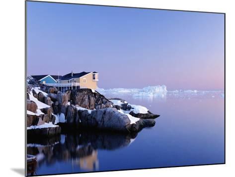 Houses on the Coastline with Icebergs, Disko Bay-Design Pics Inc-Mounted Photographic Print