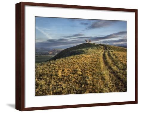 Wranglers on Horses Looking over the Dubois Badlands and Ramshorn Mountain, in Wind River Valley-Jay Dickman-Framed Art Print