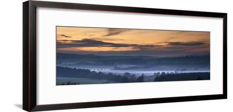 Fog Lies over a Town at Sunset; Swarland, Northumberland, England-Design Pics Inc-Framed Art Print