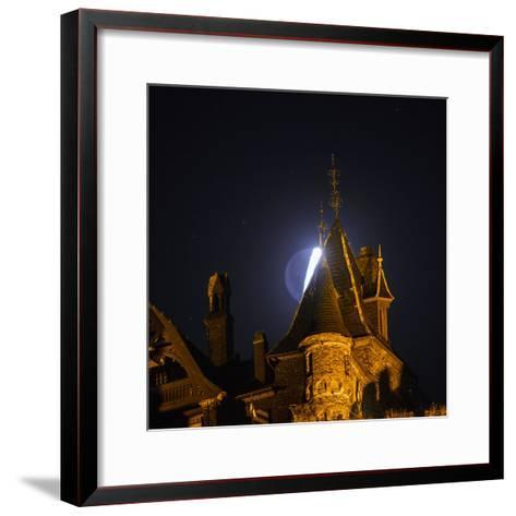 The Moon, Illuminated Sunlight Reflected on Earth's Surface, Behind the Imperial Castle of Cochem-Babak Tafreshi-Framed Art Print