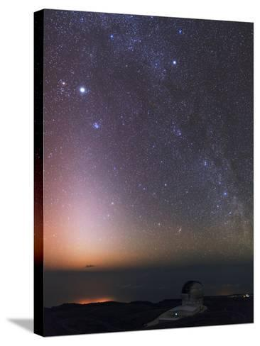 The Milky Way, Cassiopeia, Perseus, the Andromeda Galaxy, and Zodiacal Light over an Observatory-Babak Tafreshi-Stretched Canvas Print