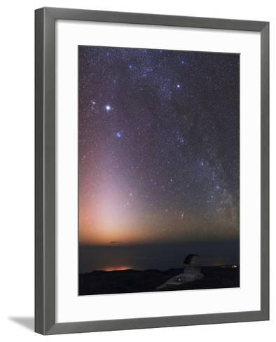 The Milky Way, Cassiopeia, Perseus, the Andromeda Galaxy, and Zodiacal Light over an Observatory-Babak Tafreshi-Framed Art Print