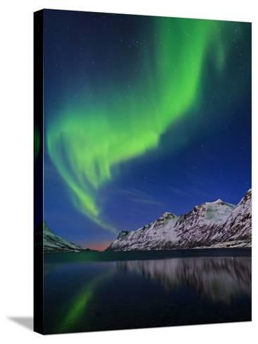 View of the Aurora Borealis, Northern Lights, Reflected in a Fjord in Norway-Babak Tafreshi-Stretched Canvas Print