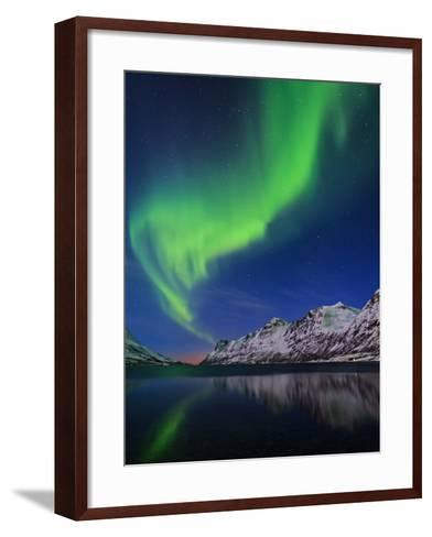 View of the Aurora Borealis, Northern Lights, Reflected in a Fjord in Norway-Babak Tafreshi-Framed Art Print