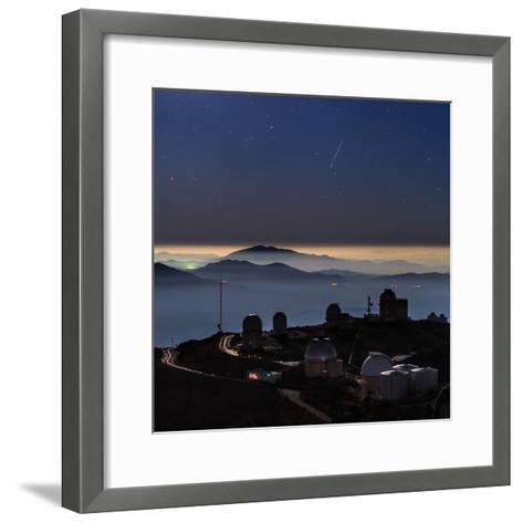 A Colorful Meteor Photographed Above Telescope Domes and Inversion Layer-Babak Tafreshi-Framed Art Print