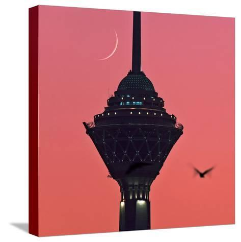 A New Moon Above the Milad Telecommunication Tower-Babak Tafreshi-Stretched Canvas Print