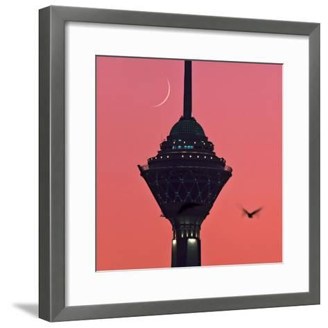A New Moon Above the Milad Telecommunication Tower-Babak Tafreshi-Framed Art Print