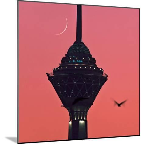 A New Moon Above the Milad Telecommunication Tower-Babak Tafreshi-Mounted Photographic Print